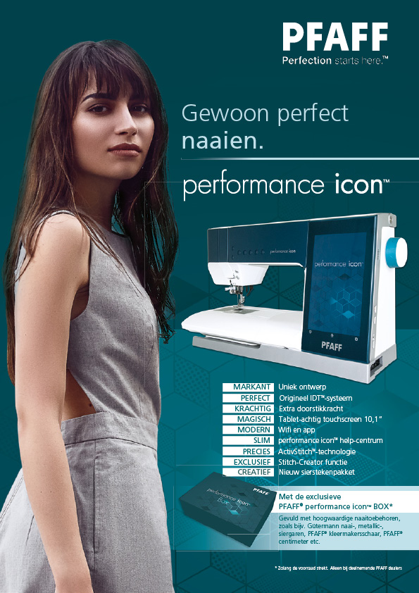 pfaff performance icon box schuring naaimachines